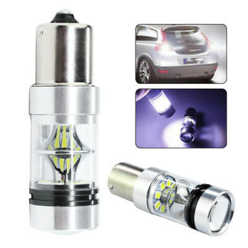 2x 100W 1156 BA15S 382 P21W Cress XBD LED Stop Reverse Light Canbus Bulb White