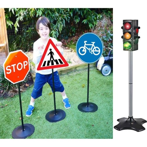 21 Piece 3 Road Safety Signs & Traffic Lights Set
