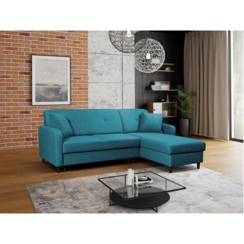 new styles 02ded fbe06 Right Corner Sofa Bed Malmo with Storage, Velveteen Fabric in Teal