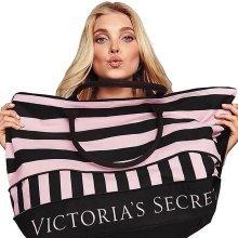 Victoria's Secret Pink & Black Stripe Limited Edition Expandable Duffel Tote Bag