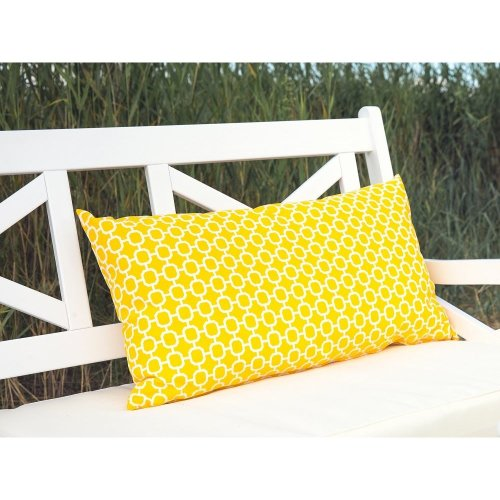 Garden cushion with decorative yellow pattern 40 x 70 cm