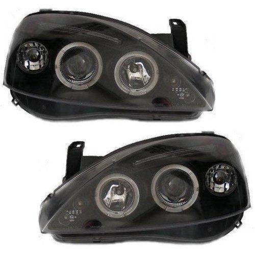 Vauxhall Corsa C 2000-2006 Black Angel Eyes Halo Headlights Pair