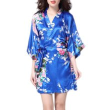 Charming Women Bathrobe Blossoms Peacock Kimono Silk Robes Gown-Navy Blue