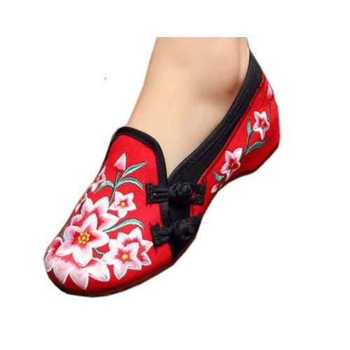 Vintage Design Chinese Shoes Embroidered Flats Cheongsam Shoes, #03