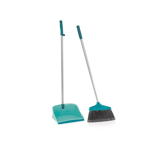 Leifheit Long Handled Open Dustpan and Brush Set, Turquoise