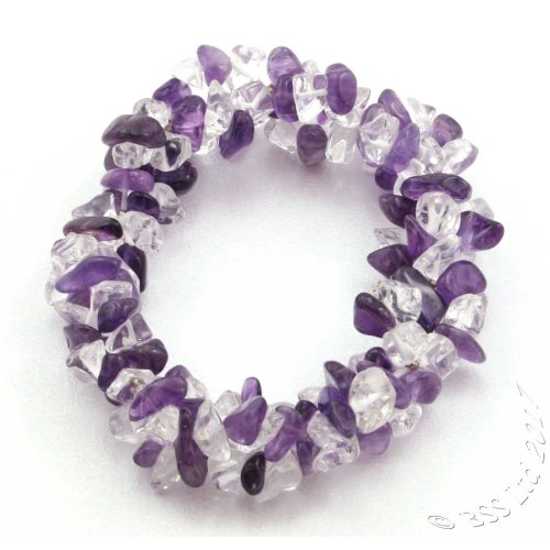 Amethyst and Rock Crystal Quartz triple band gemstone bracelet