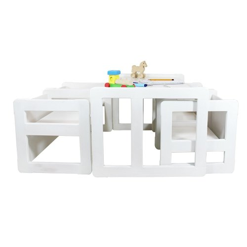 Obique Multifunctional Furniture Set of 5, 4 Chairs & 1 Table, White