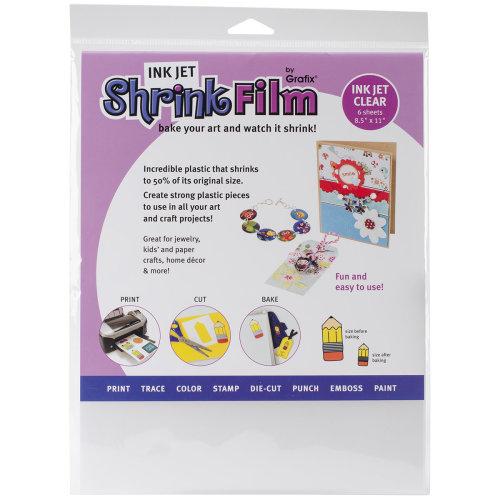 """Grafix Ink Jet Shrink Film 8.5""""X11"""" 6/Pkg-Clear"""