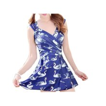Graceful Conjoined Swimsuit/Female Chest Gather Skirt Swimming Apparel