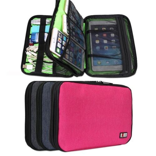 BUBM DIS-D Large Capacity Double Layer Digital Accessories Power Bank Tablet Storage Bag