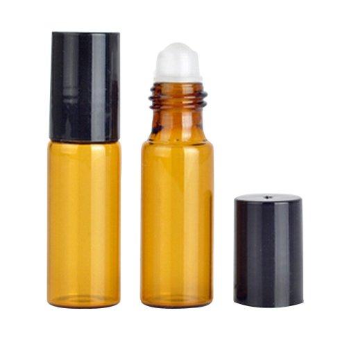 Set of 10 Amber Lotion Oil Dispenser with roller 0.2 oz (5 ml)