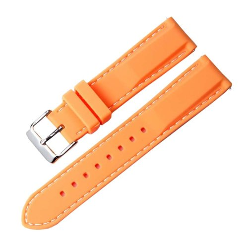 Orange Silicone Watch Wrist Replacement 22MM Comfortable Watch Strap Watch Band
