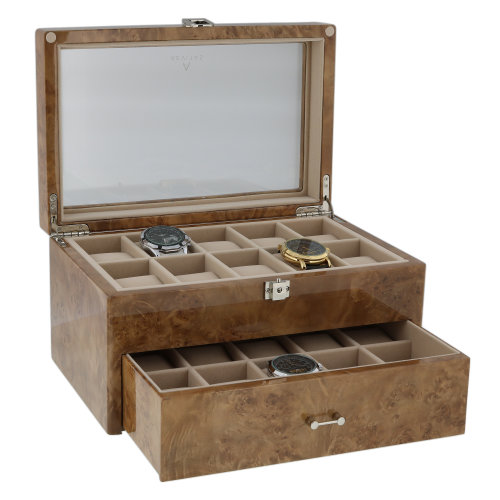 Watch Box for 20 Wrist Watches in Light Burl Wood by Aevitas
