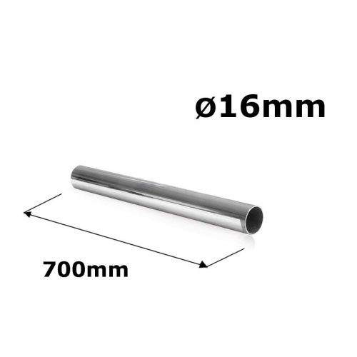 WARDROBE ROUND RAIL POLE TUBE CHROME HANGING RAIL 16MM x 700MM