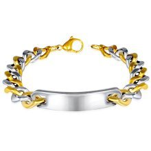 Urban Male Solid Two Colour Stainless Steel Curb Link ID Plate Bracelet