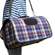 M Size Carry Bag Sweet Cute Pet Home Dog Cat Carrier House Travel---Blue plaid