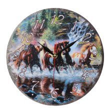 Obique Home Decoration MDF Horses and Waterfall Scene 28 cm Wall Clock