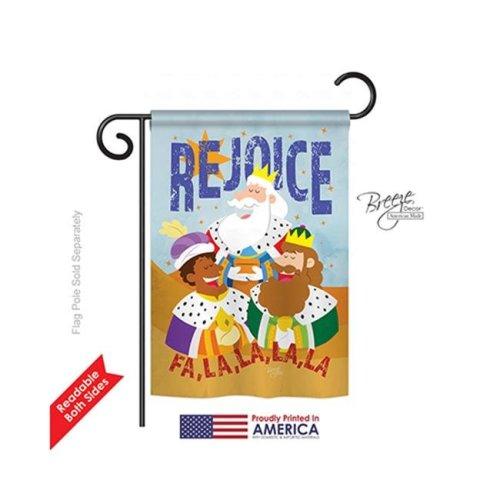 Breeze Decor 64130 Nativity Fa La La Rejoice 2-Sided Impression Garden Flag - 13 x 18.5 in.