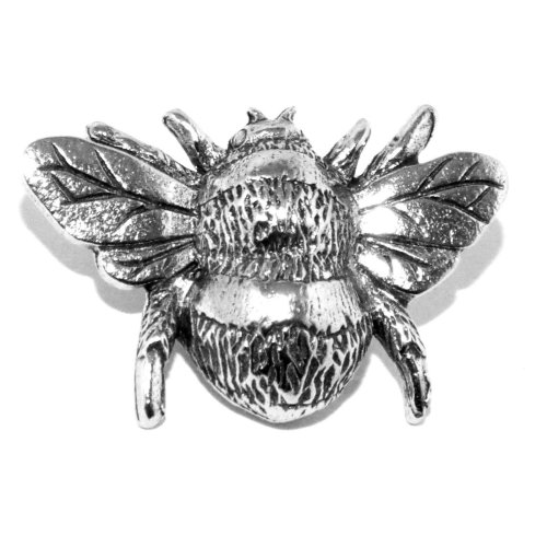 Bee Pin Badge Brooch - Silver Pewter Honey Bumble (Made in UK)