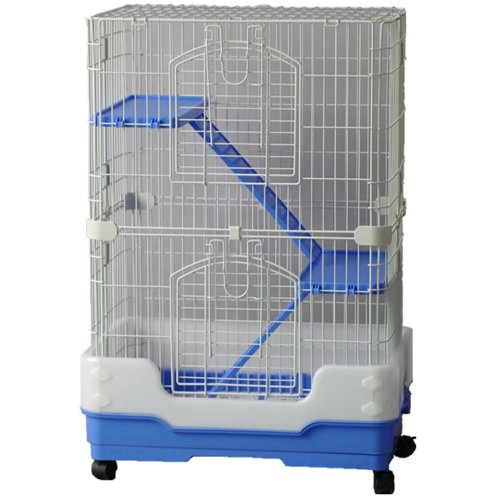 Chinchilla, Rodent Cage Three Tier On Wheels Blue