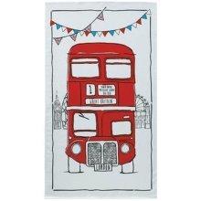 Sketchy London Bus Tea Towel Souvenir Gift Red Routemaster Cartoon Sketch White