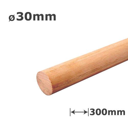 Oak Dowel Smooth Wood Rod Pegs - 300mm length, 30mm diameter
