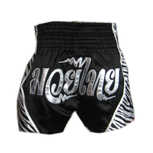 Black & Sliver Muay Thai MMA Trunks Kick Boxing Brief Amateur Boxing Short, L