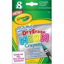 Crayola Washable Dry-Erase Crayons-Neon 8/Pkg