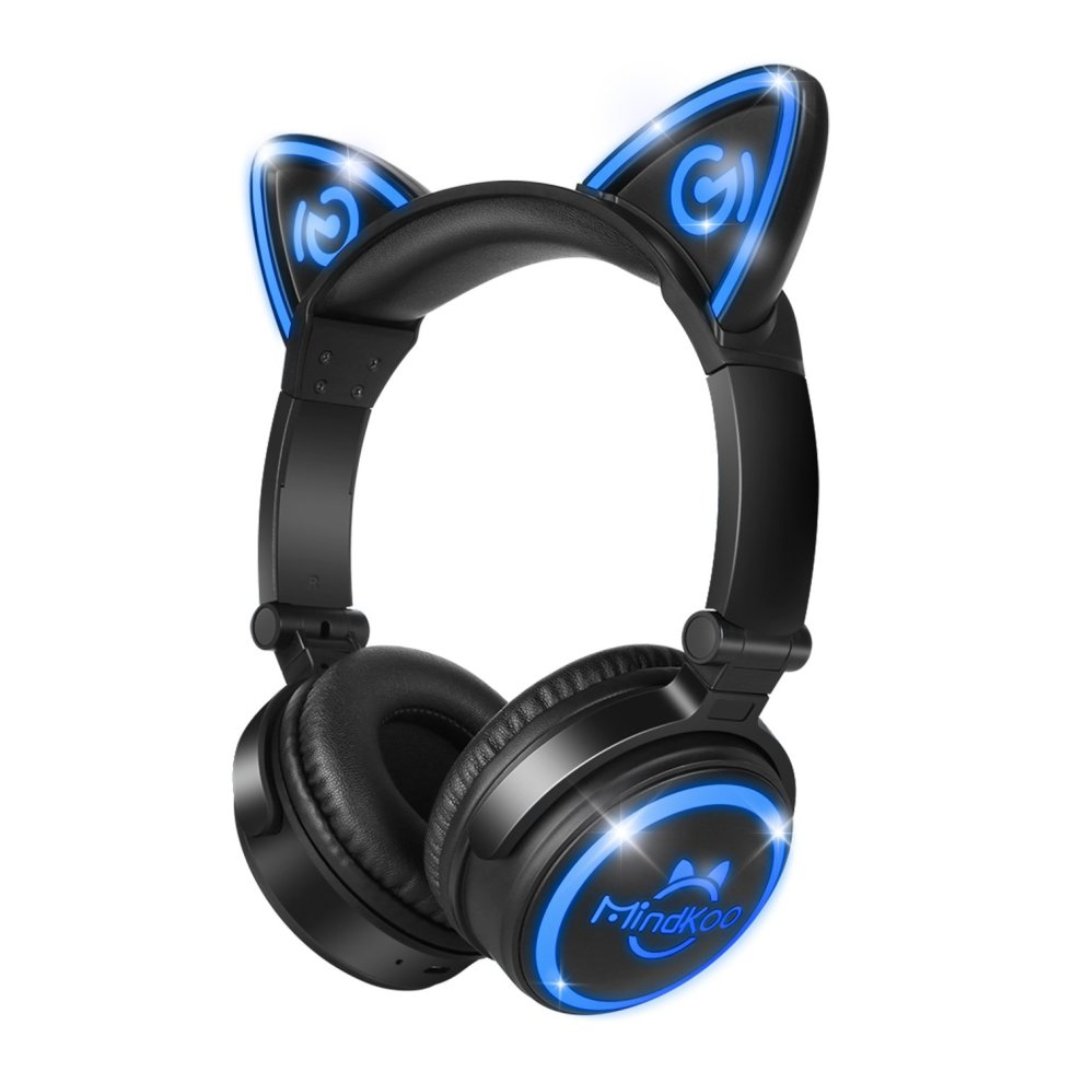 cat ear headphones led foldable over ear bluetooth. Black Bedroom Furniture Sets. Home Design Ideas