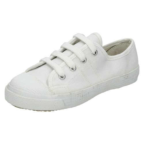Boys Spot On Canvas Lace To Toe Pumps