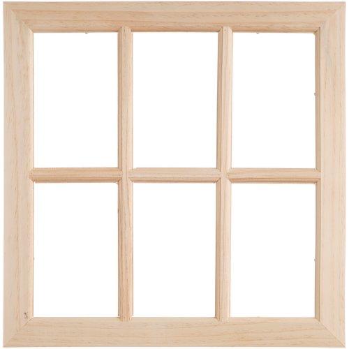 "Wood Window W/6 Panes-17""X17""X0.375"""