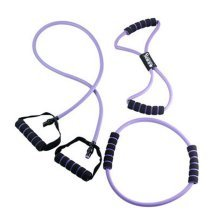 Set of 3 Latex Resistance Band Exercise Straps, Purple