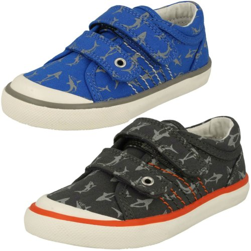 Boys Startrite Shark Detailed Canvas Shoes Wave - F Fit