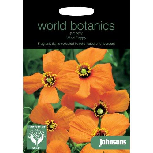 Johnsons World Botanics Flower - Pictorial Pack - Poppy Wind Poppy - 20 Seeds