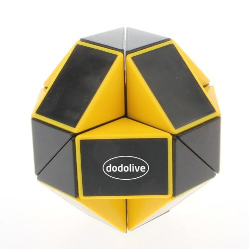 Dodolive 24 Parts Foldable Color Magic Snake Cube Jigsaw Puzzle Cube Toy Color Black With Yellow