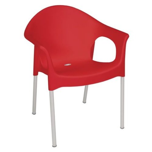 Wang Indoor Outdoor Chair Stackable Red Chair with Armrests Pack of 4