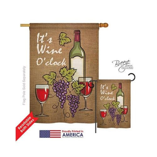 Breeze Decor 17033 Its Wine 2-Sided Vertical Impression House Flag - 28 x 40 in.