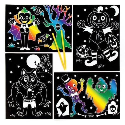 7117344790a3 Baker Ross Halloween Scratch Art Pictures Perfect For Halloween Children's  Arts, Crafts And Decorating For Boys And Girls (Pack of 6)