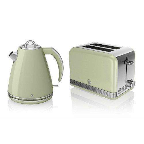 SWAN RETRO GREEN 1.5 Litre Jug Kettle & Green 2 Slice Toaster Set