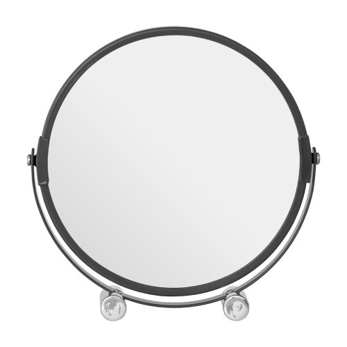 Grey Metal Swivel Shaving Mirror With Double Magnification