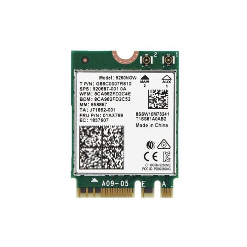 Intel Wireless AC 9260 NGFF M2 Dual Band 802.11ac WiFi 5.0 MF Card