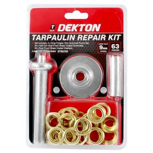 Dekton 63pc Tarpaulin Repair Kit -  tarpaulin repair eyelet punches washers damaged garden camping tents cover replacement eyelets 135mm grommets